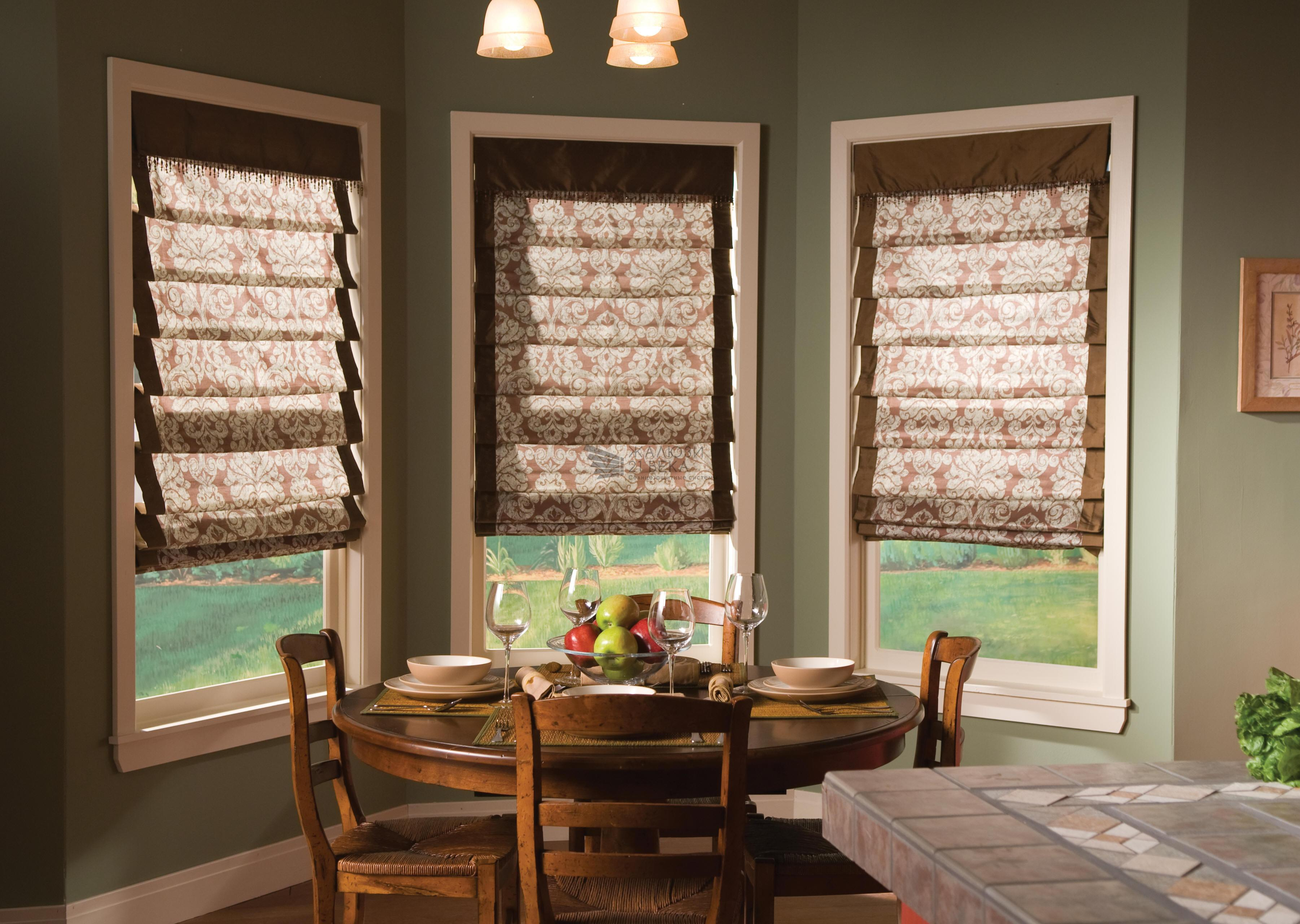 astounding-picture-of-bay-window-design-with-white-wooden-sash-frames-covering-motive-fabric-blinds-also-rounded-dining-table-unify-stylish-ch